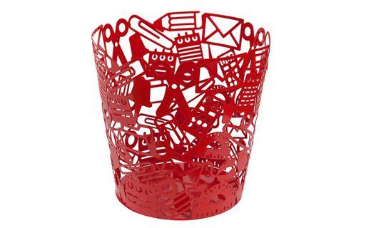 """Papelero """"Objetos"""" rojo, metalico tiene una altura de 25 cms, y su diametro superior es de 25cms. también. Puedes encontrarlo en #surdiseño y #mueblessur"""