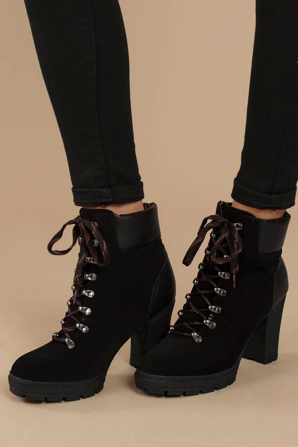 74ce6eba24b7 Ciara Black Faux Suede Lace Up Ankle Booties
