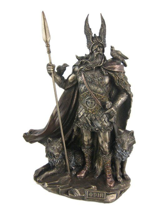 Norse God Odin Bronze Finish Statue Viking Pagan - The Norse supreme god, Odin, was said to be the patron of warriors.  This incredibly detailed statue features him with a spear in hand, ready to protect Midgard.  $63.00