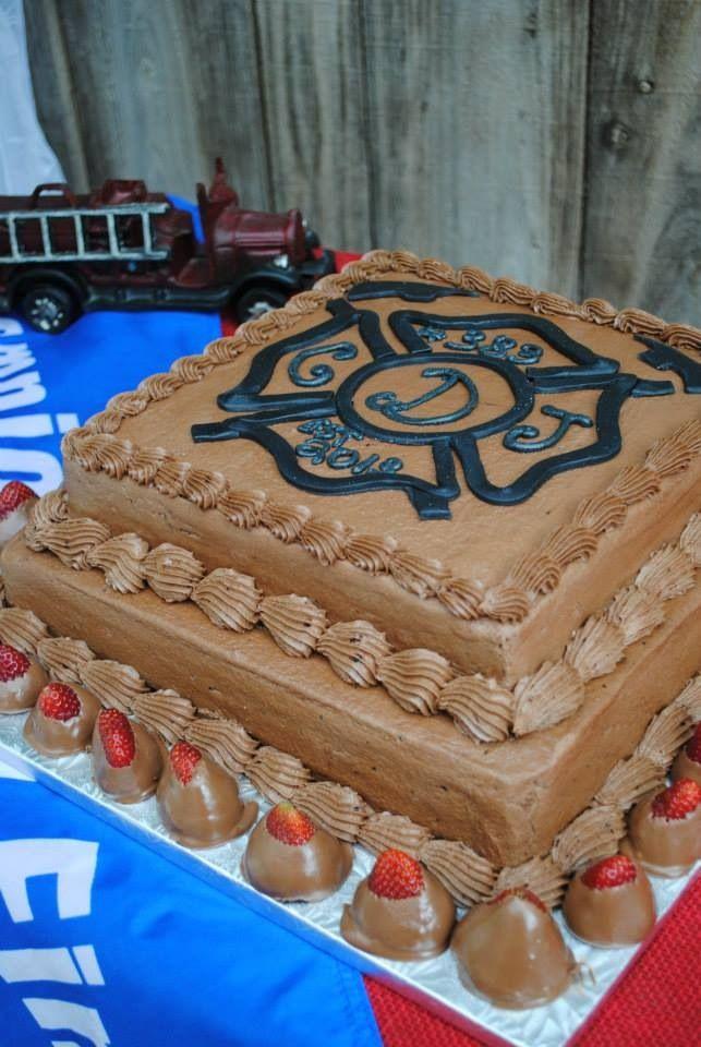 Chocolate Firefighter Maltese Cross Groom's Cake | Shared by LION