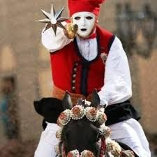 Sartiglia celebration. Sardinia, Italy. This is on February during Carnival.   Sartiglia of Oristano is one of the last races to the ring that is still running in the Mediterranean area. The Sartiglia of Oristano, as well as Quintana rides the Saracen, refer to its most distant origins in military training of riders, starting from the tenth until the fourteenth century, they trained for war exercises with hand eye coordination trying to stroke center in a target, put a ring or hit a puppet.