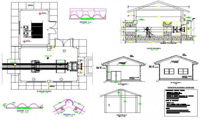 Chamber pipe line house detail dwg file, front elevation detail