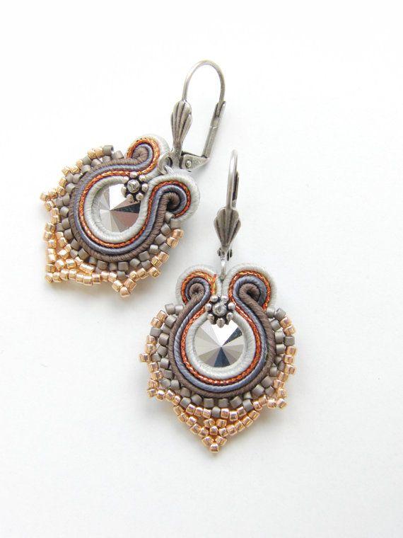 Soutache Earrings Rose Gold-Silver I. by Violetbijoux on Etsy