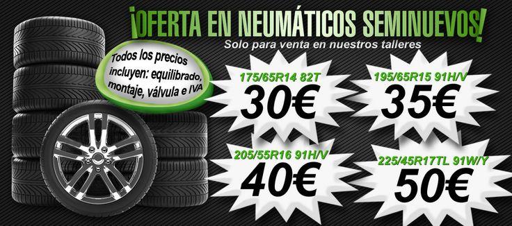 ¿Tienes que cambiar las ruedas de tu coche y quieres hacerlo con neumáticos seminuevos? En nuestros talleres mecánicos de Madrid, tenemos la mejor oferta en muchas medidas. Compramos en recogedor oficial Signus y comprobamos y ponemos a punto neumático por neumático. Pregunta gratis en el 900845059 por nuestras ofertas en las diferentes medidas. Falken, Continental, Zeetex, Pirelli, Goodyear, Dunlop.