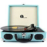 #5: 1byone Belt-Drive 3-Speed Portable Vinyl Turntable with Built in Speakers Supports RCA Output / Headphone Jack / MP3 / Mobile Phones Music Playback Turquoise #movers #shakers #amazon #electronics #photo