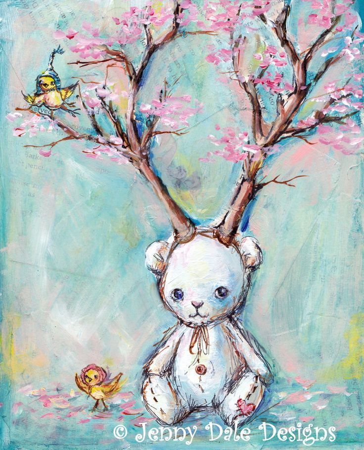 Bear with Antlers: Woodland bear and bird print, Tree Print, Pink Cherry Blossom…