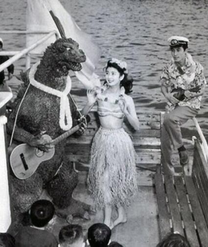 """Cast party at the end of filming """"Godzilla."""""""