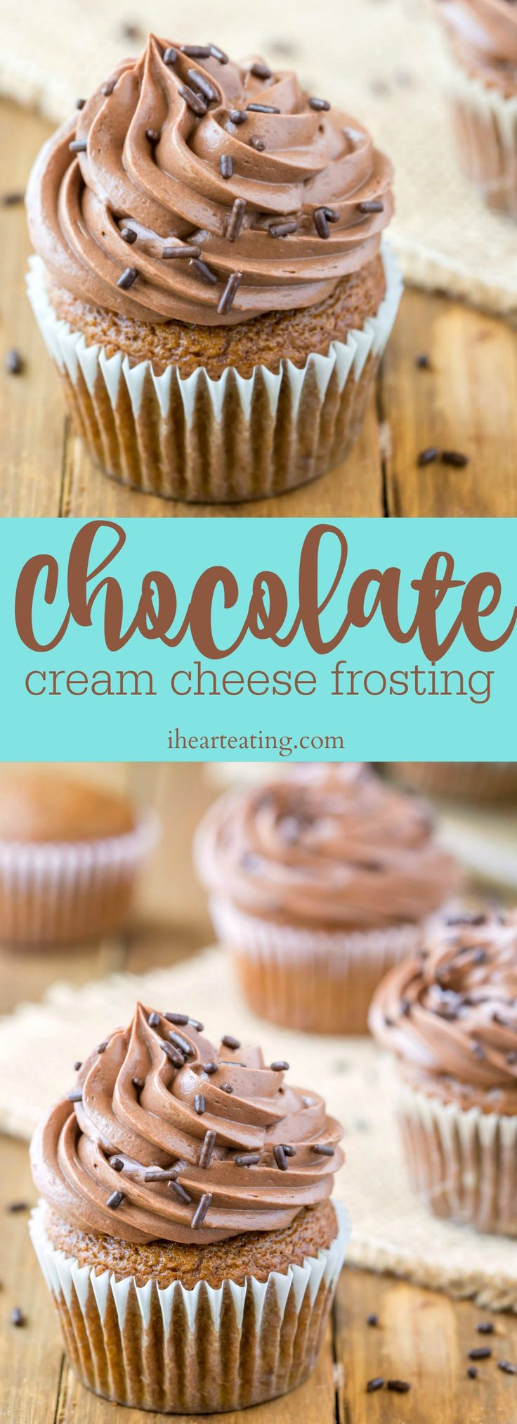Rich and creamy chocolate cream cheese frosting recipe is delicious paired with chocolate cake, white cake, or even pumpkin cake!