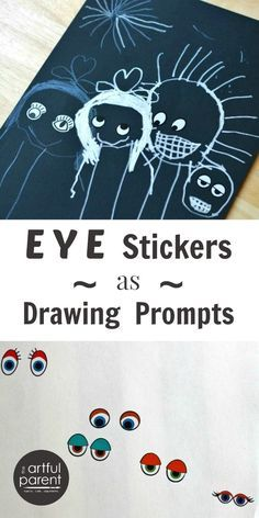 Create drawing prompts for kids with eye stickers! This is such a fun and playful way to encourage drawing and creative visual expression.
