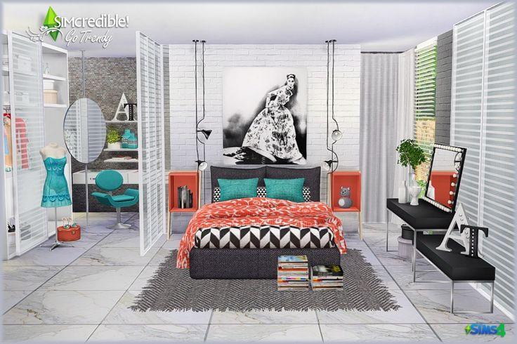 Go Trendy Bedroom by SIMcredible! (Sims 4) Go Trendy Add-ons (Free) • OfficeChair • Desk • Laptop • Books • Plant • HatBoxes • LivingChair • Chocolates • SandalsBox • LowTable • Shelf • ShoesMagazines...