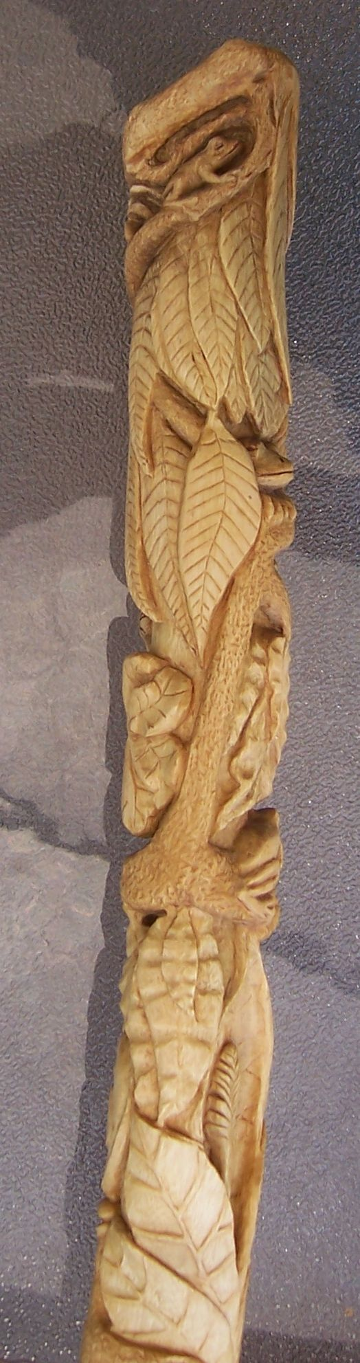 The Rainforest - a hand carved walking stick on Sycamore. tree frog