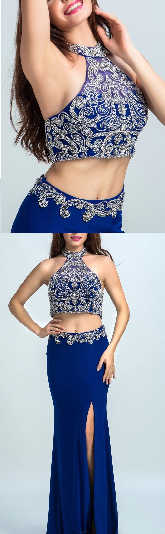 Two Piece Prom Dresses, Blue Prom Dresses, Royal Blue Prom Dresses, Backless Prom Dresses, Princess Prom Dresses, Prom Dresses Blue, Prom Dresses Royal Blue, Two Piece Dresses, Royal Blue dresses, A Line dresses, Backless Evening Dresses, Rhinestone Prom Dresses, Floor-length Prom Dresses, A-line/Princess Evening Dresses