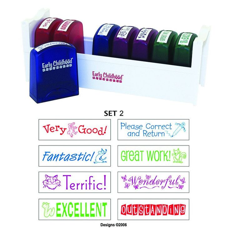 Self-inking stamps make it fast and easy to correct and praise students' work. Choose from 5 available MessageStorÌ_Ìâ Teacher Stamp Sets, each including 8 original**, message stamps in 4 colors, each