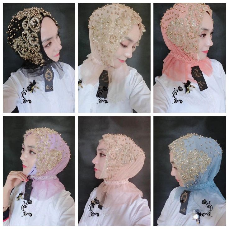 Women Mesh Shiny Gold Beaded Wrap Head Turban Cap Muslim Wedding Lace Hijab Hat