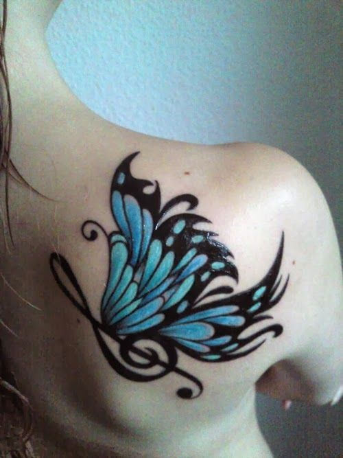 butterfly and music note tattoos | Music Butterfly Tattoo