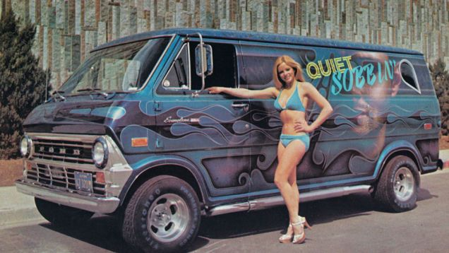 I often like to reflect back on an era — a magical era — when not only were vans considered cool, but they often sported elaborate airbrushed side art and evocative names. Names that usually replaced a final 'g' on a gerundive form of a word with a kicky apostrophe. So let's make up some really terrible ones!