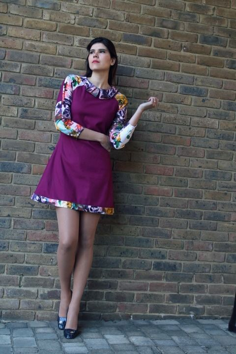 Rachel's Francoise dress with contrast sleeves - gorgeous!