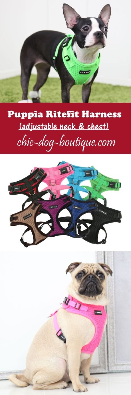 Finally a dog harness for hard to fit dogs! The Puppia Ritefit Harness has both an adjustable neck and chest for optimal fit. Shop this dog harness in sizes S-XL in multiple colors from $19.95.
