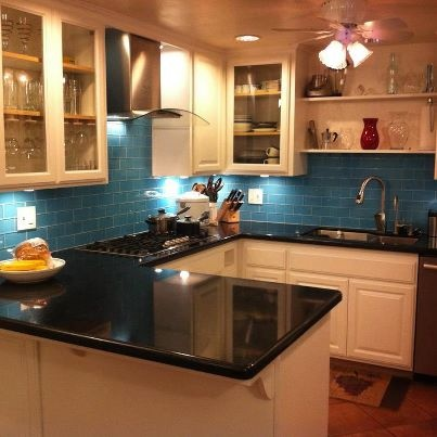Attractive Customeru0027s Kitchen Redo Using Our Lush 3x6 Glass Subway Tile In Sky Blue.  Www.