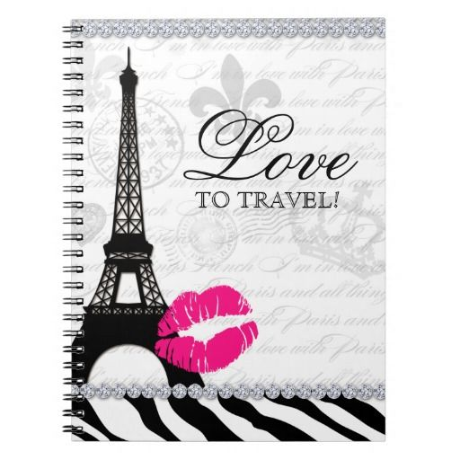 Paris Travel Journal Eiffel Tower Lips Notebook