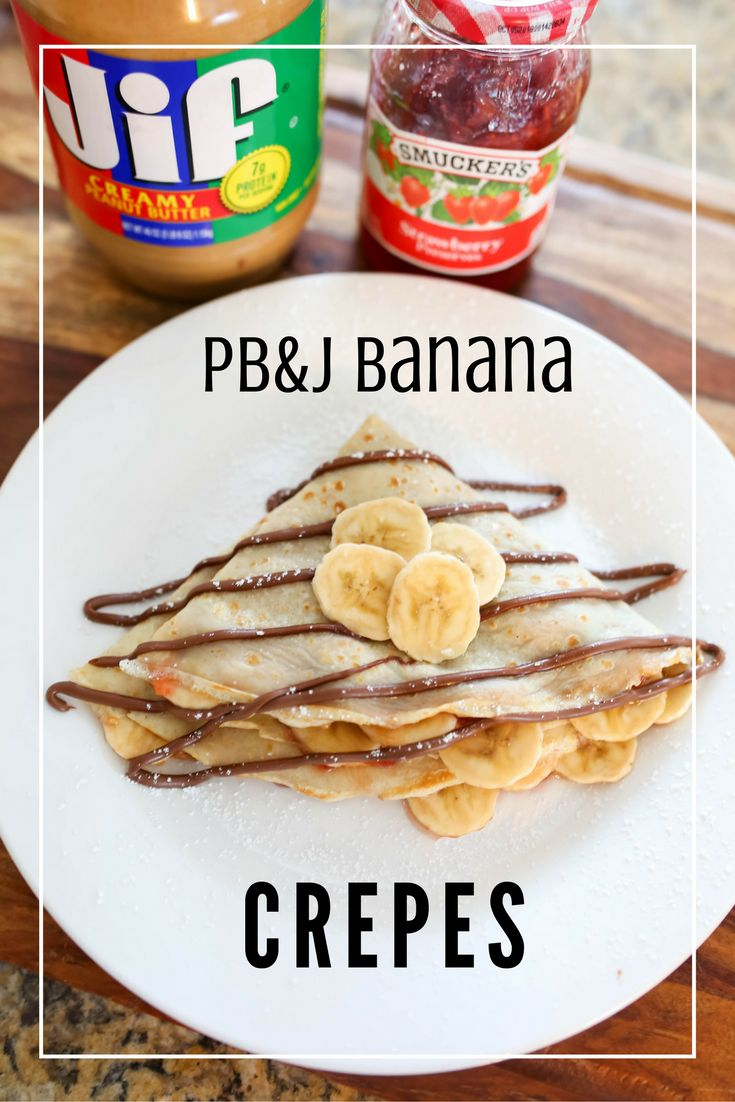 Peanut Butter and Banana Crepes.  A fun new twist on the classic peanut butter and jelly!   Bellissimi Bambini: PB&J Banana Crepes