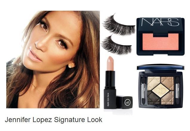 Jennifer Lopez Signature Look     Try:   Dior 5 Colour Eyeshadow  e.l.f. Mineral Lipstick  NARS blush   Joey Quan Quantum Lash