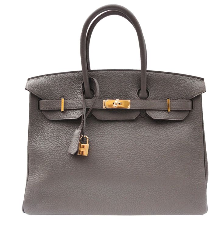 Hermes etain Grey Leather 35cm Birkin Bag with Gold Hardware ...
