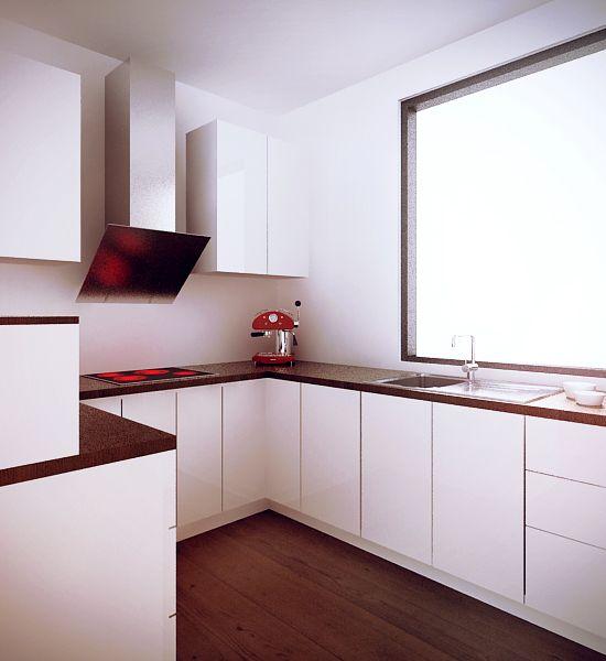 Projekt minimalistycznej białej kuchni - meble na zamówienie MBVision