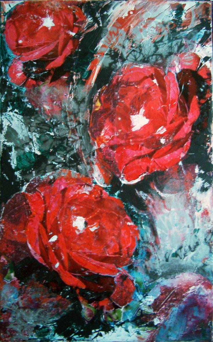 Červené+růže+Acryl,+komb.+tech.+-+koláž,+39x64+cm,+nutno+zarámovat