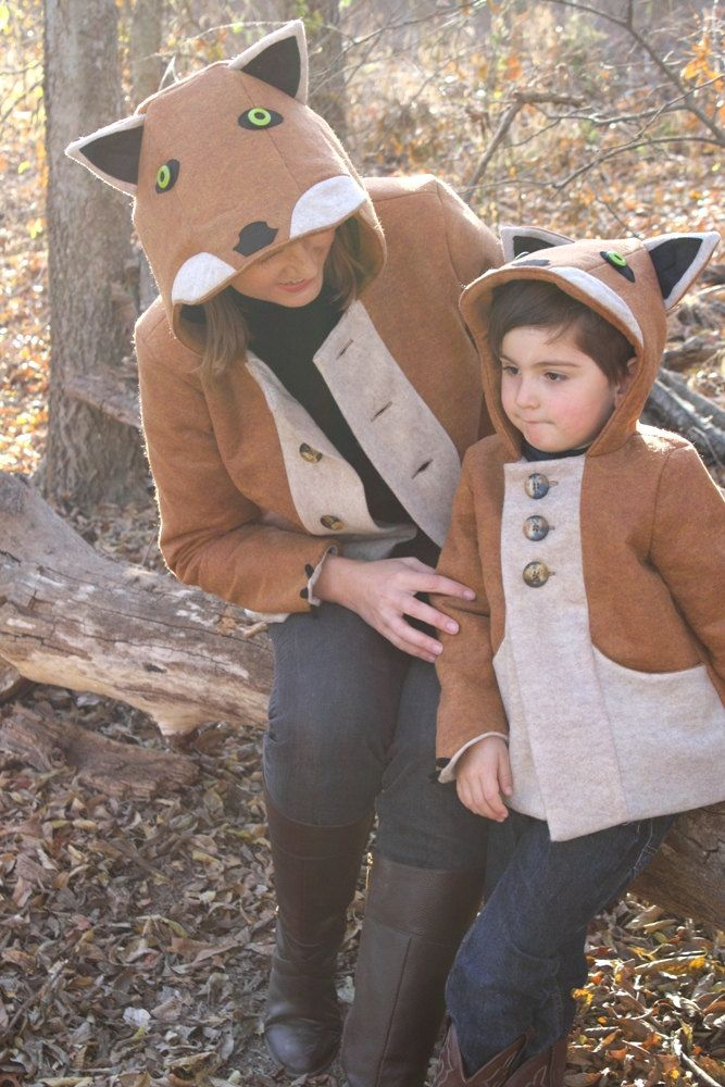 Create a little fox family of your own with littlegoodall's new line of adult sized fox & wolf coats.