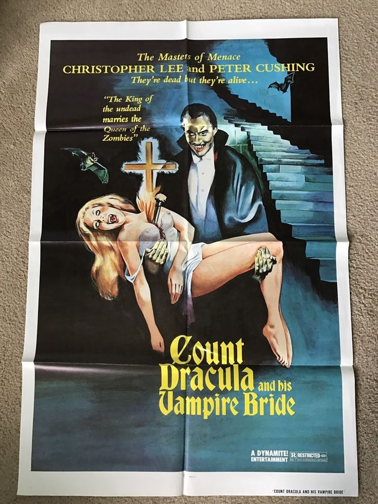 ORIGINAL COUNT DRACULA AND HIS VAMPIRE BRIDE 1 SIDED FOLDED MOVIE POSTER #Vintage