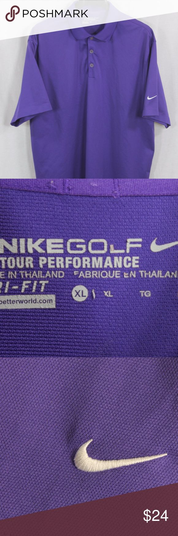 """MENS NIKE GOLF PURPLE POLO SHIRT XL SIZE:     XL  CHEST:     24""""  LENGTH:     32""""  STYLE:DRI-FIT  MATERIAL:     100%  POLY  CONDITION:        BRAND NEW WITHOUT TAGS. SOURCED DIRECTLY FROM A NATIONAL UPSCALE U.S. RETAILER. QUALITY AND AUTHENTICITY GUARANTEED!    59-43-G Nike Shirts Polos"""