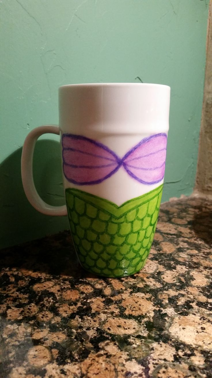 The Little Mermaid painted mug. Made with Martha Stewart glass craft paint!  **LIKE my page for Disney travel tips & GIVEAWAYS!