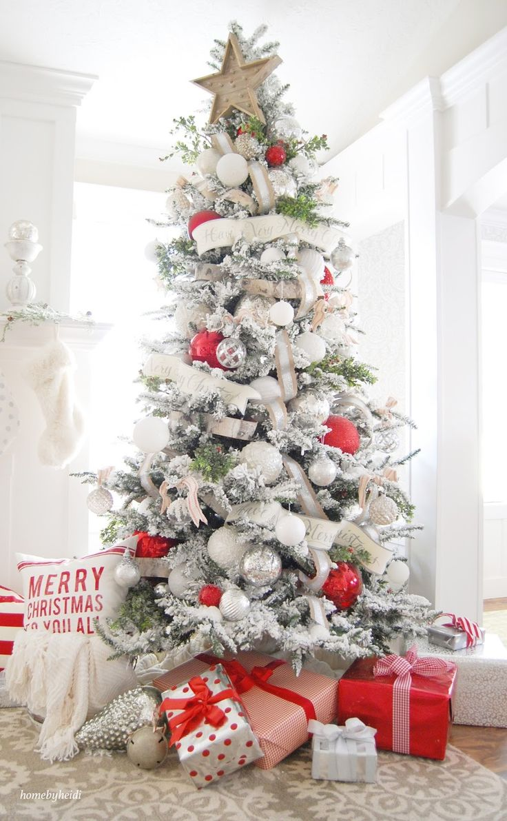 White christmas tree with purple and blue decorations - Lovely Red And White Decorated Home Part Of The 11 Magnolia Lane Holiday Home Tour