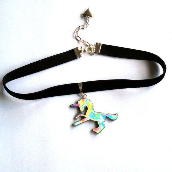 Holographic Unicorn Choker Hologram Choker 90s grunge jewelry rainbow... ($27) ❤ liked on Polyvore featuring jewelry, necklaces, unicorn pendant, pendant necklace, pendant choker necklace, choker necklace and chain necklaces