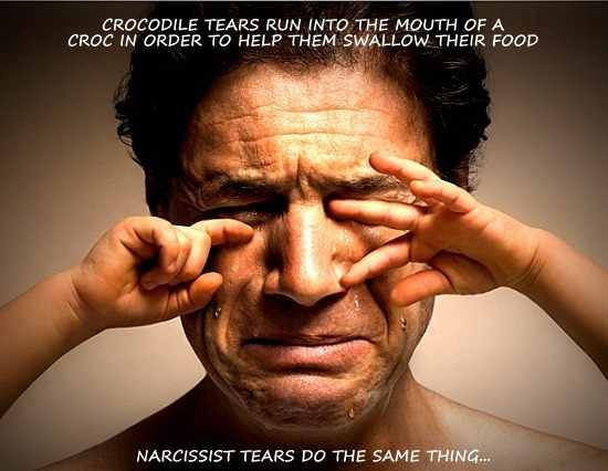 Narcissist Crocodile Tears Are Fake...just stop! Such a fool & we all know it.