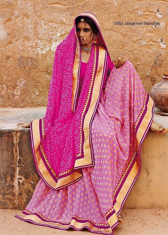 Vibrant Sarees in Marwadi / Rajasthani / Gujrati Bandhani Sarees with handwork and golden border. Lush bright color combinations give a fresh touch