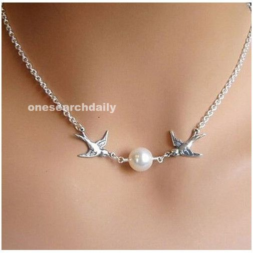 Горячая приходят замечательный полет двойные птицы старинное серебро жемчужное ожерелье цепь JW064 купить на AliExpress