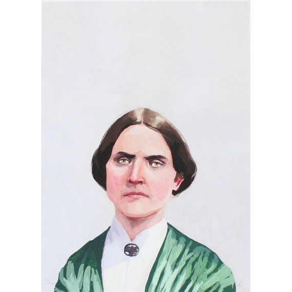 This is a 5x7 open edition giclee print of my original gouache painting of Susan B. Anthony. Susan B. Anthony, known for her work in the
