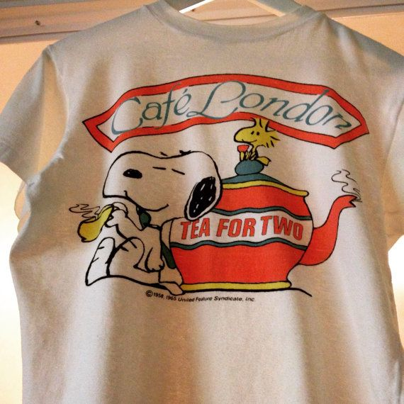 Perfectly vintage Woodstock and Snoopy Shirt. London Cafe Shirt. Peanuts t-shirt from the 60s. Tea for Two Rare! Size large womens shirt. In