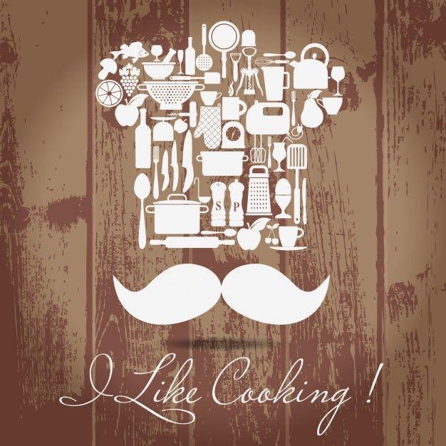 Jogo do ícone da cozinha Cozinheiro principal Vetor grátis