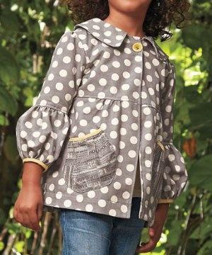 Polka dot jacket with puff sleeves
