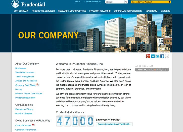 Prudential is more conservative. Opting for a much more business targeted look. Even their images are more financial looking. Very little graphics used in their site.