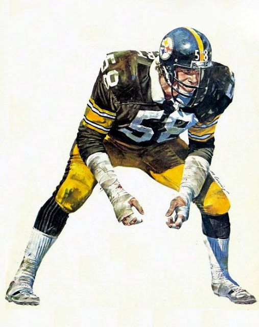 Pittsburgh Steelers Middle Linebacker Jack Lambert by Merv Corning. Pro Football Journal Presents: NFL Art: Merv Corning