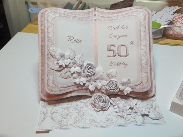 (Ref:D1) Easel card 18.5cm x 15cm. 50th birthday card using Clipart Fairy bookeasel download.