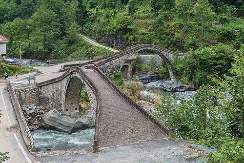 Cifte Kemer Bridge in Arhavi - Cifte Kemer Kopru , Artvin-Double Arch Bridge , Turkey