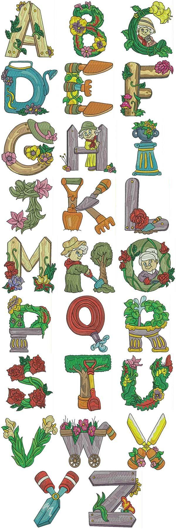 Gardening Alphabet Embroidery Machine Design Details