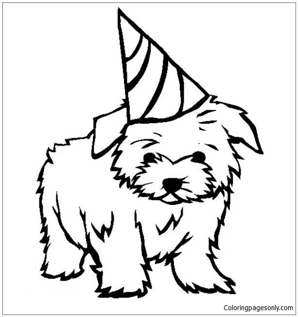 puppy birthday coloring page