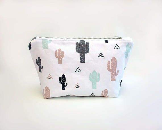 Large cosmetic bag Cactus makeup bag Cute make up bag