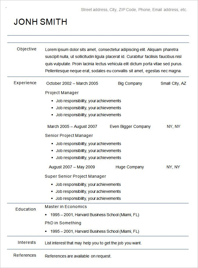 Chronological | Resume examples | Chronological resume ...